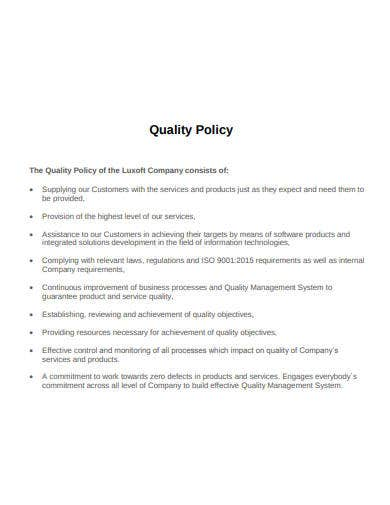 quality policy template of company