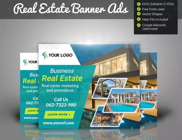 real estate banner and social media template in pdf