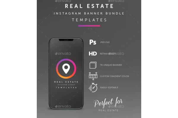 real estate instagram banner in psd