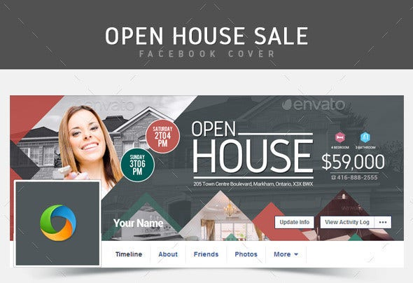 real estate open house facebook cover