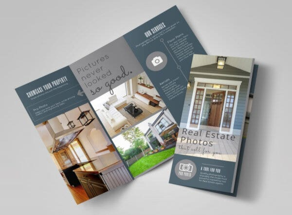 real estate photography tri fold brochure template
