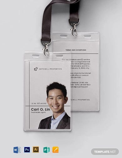 real estate company id card template