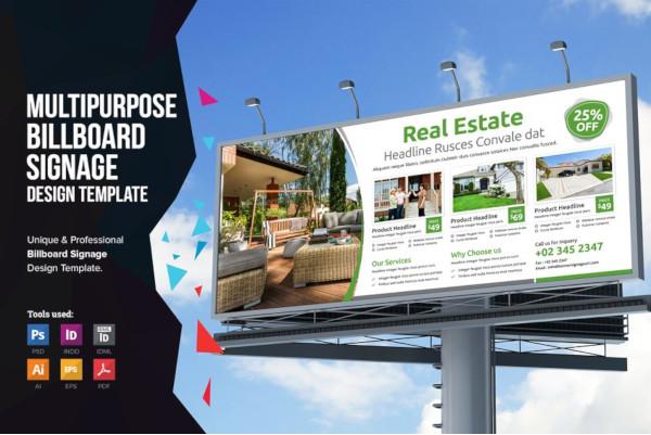real estate property billboard signage design template