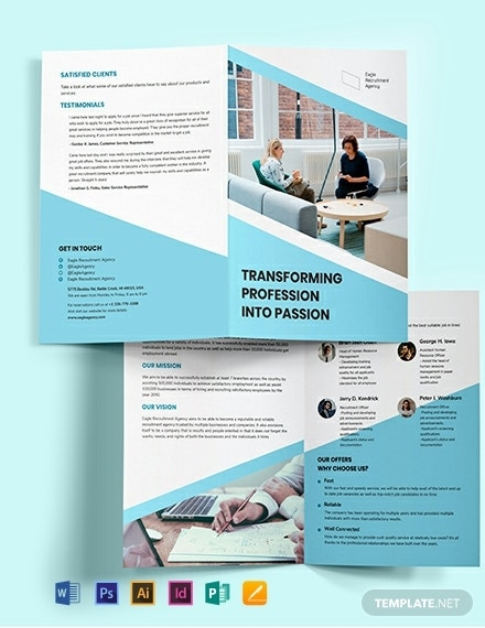 recruitment agency bi fold brochure template