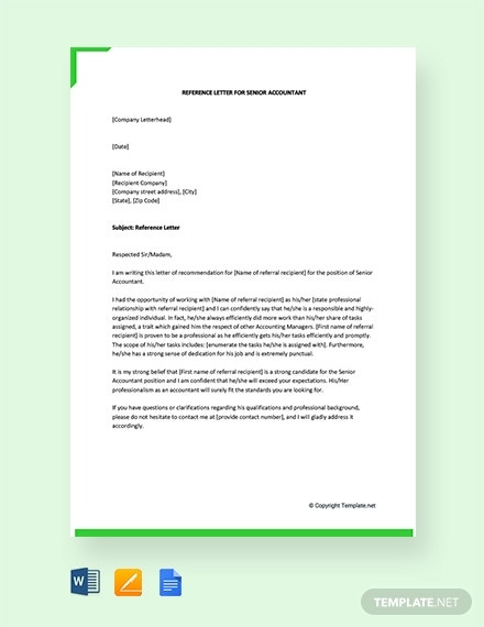 reference letter for senior accountant