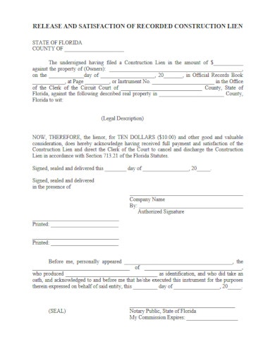 release of construction lien form template