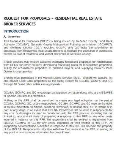 residential real estate request for proposal