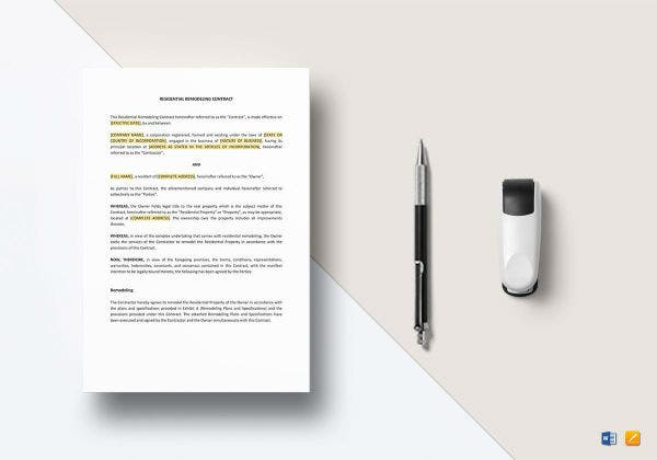 residential remodeling contract mockup