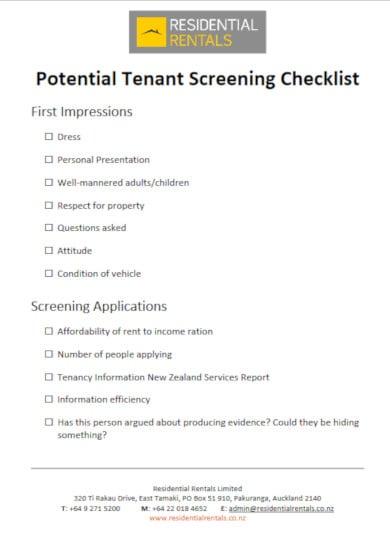 residential tenant screening checklist template