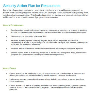 6+ Restaurant Action Plan Templates - Google Docs, Word, Pages, PDF