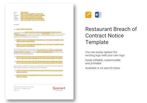 restaurant-breach-of-contract-notice-template