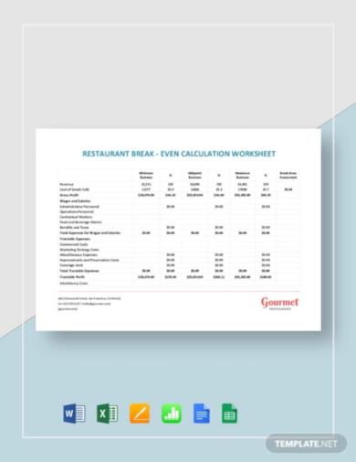 restaurant break even calculation worksheet template