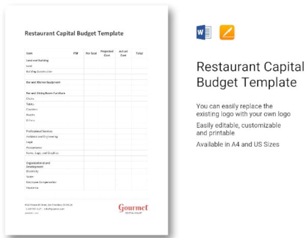 restaurant capital business budget template1