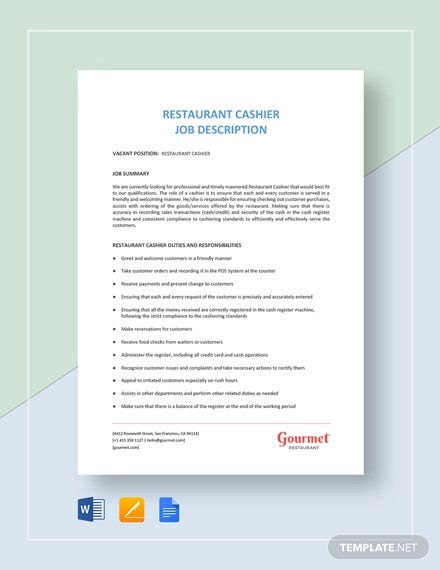 restaurant cashier job description template