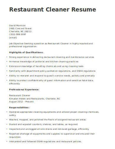 restaurant cleaner resume example