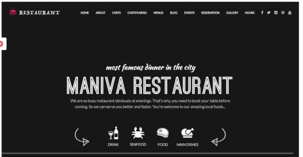 restaurant drag and drop page builder wordpress theme