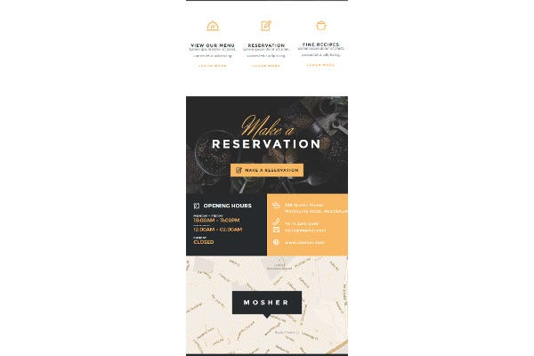 restaurant email food template