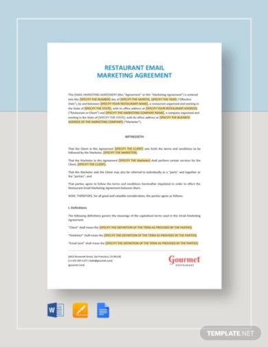 restaurant-email-marketing-agreement-template