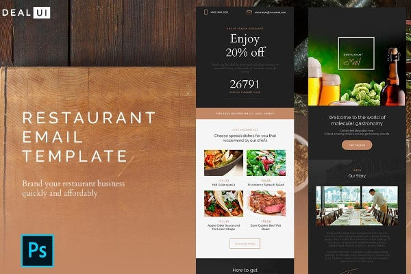 restaurant email template example