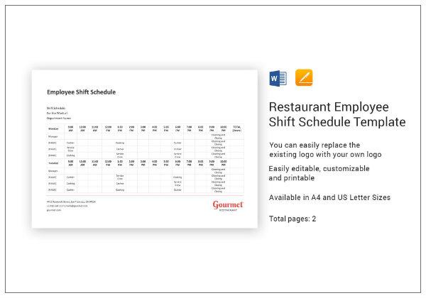 restaurant employee shift schedule template1
