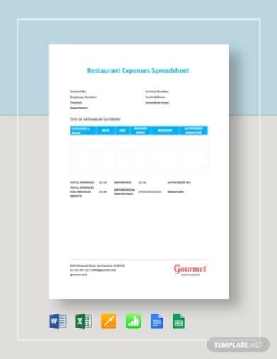 restaurant-expenses-spreadsheet-template