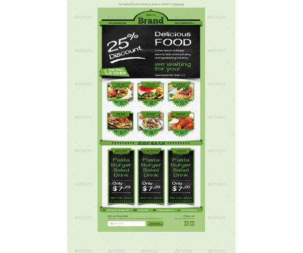 restaurant food email template