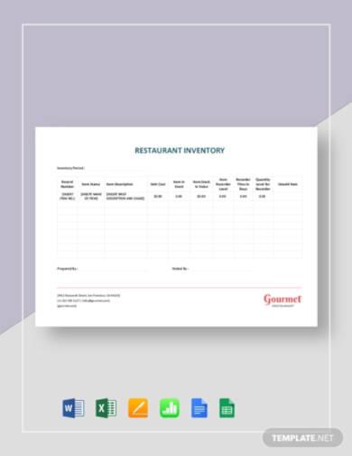 restaurant inventory sheet