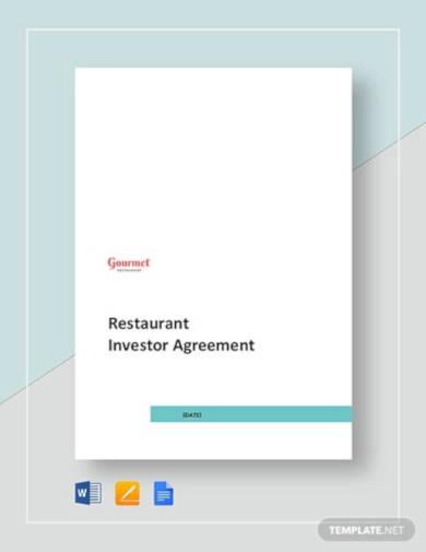 restaurant investor agreement template