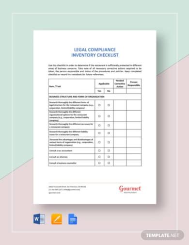 restaurant legal compliance inventory checklist1