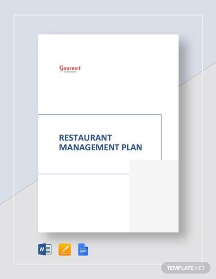 restaurant management plan