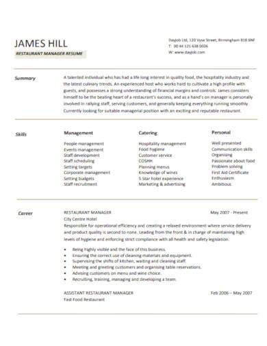7+ Restaurant Resume Templates in PDF | DOC | Free & Premium ...