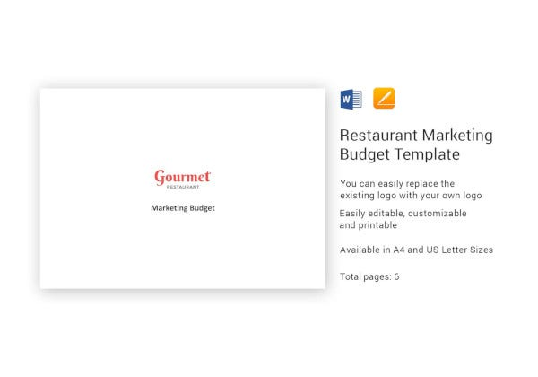 restaurant marketing budget example