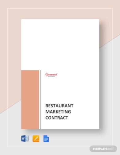 restaurant marketing contract template