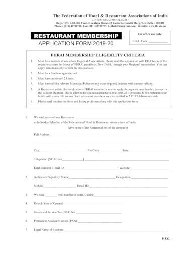 restaurant-membership-application-format