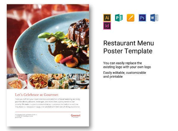 restaurant menu poster template
