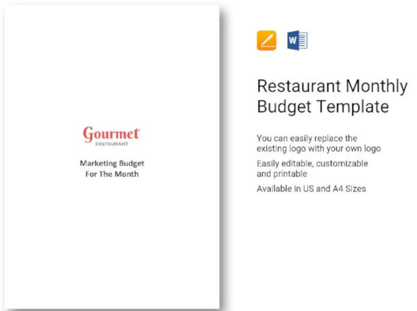 restaurant monthly budget template2