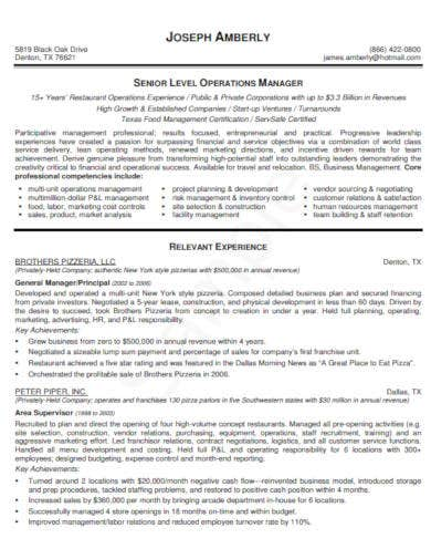 restaurant operations manager resume