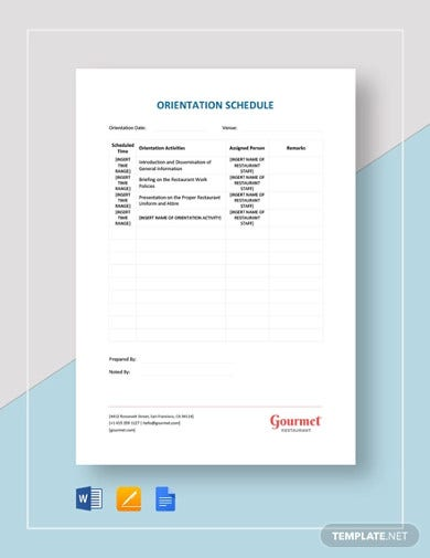 restaurant orientation schedule