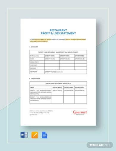 restaurant profit and loss statement template1