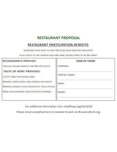 restaurant proposal in pdf
