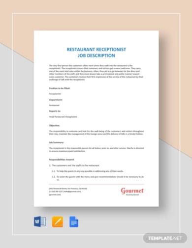restaurant receptionist job description template