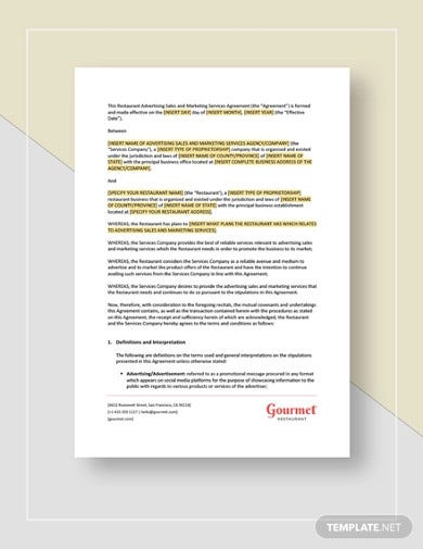 restaurant sales and marketing services agreement template