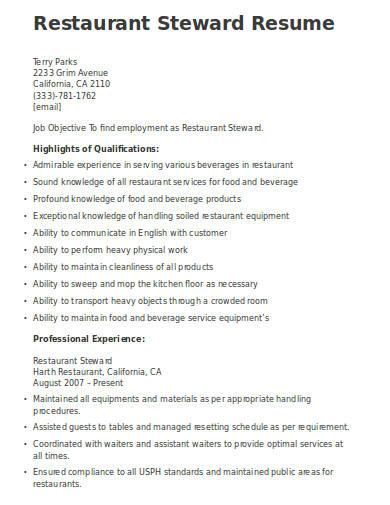 restaurant steward resume example