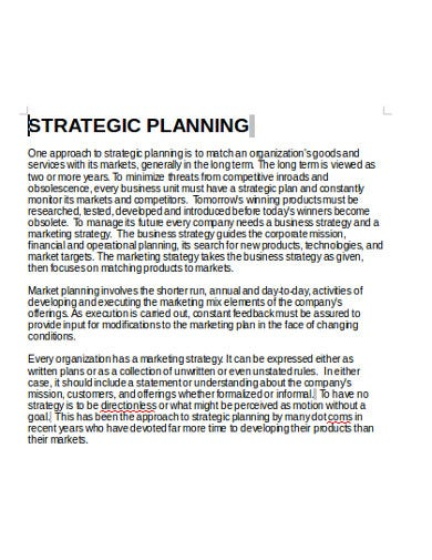 restaurant strategic plan model
