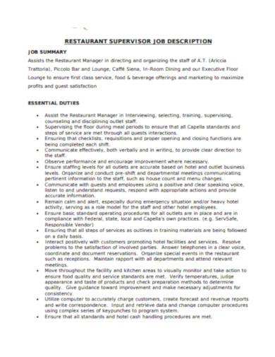 restaurant supervisor job description template