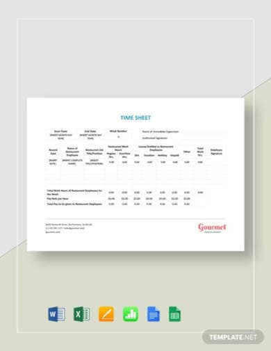 restaurant-time-sheet-template