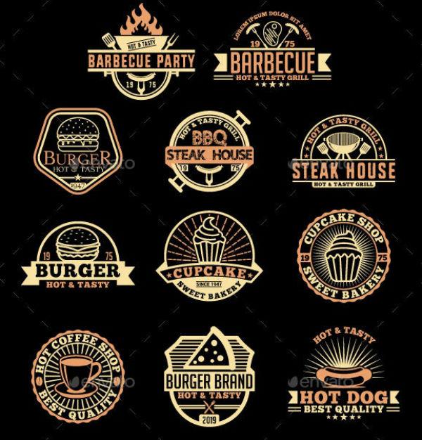retro restaurant food logo and label template