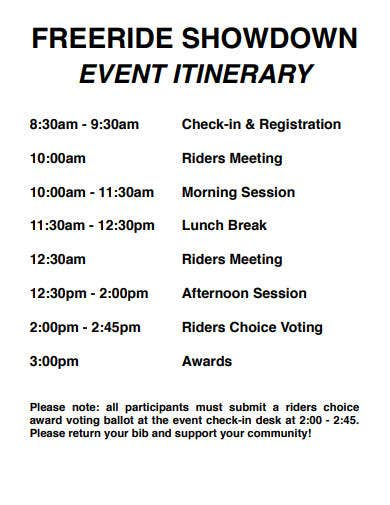 ride event itinerary template