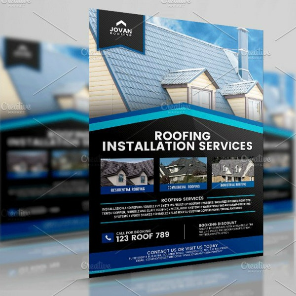 roof installation services flyer layout
