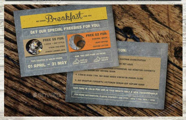 rustic breakfast coupon card template